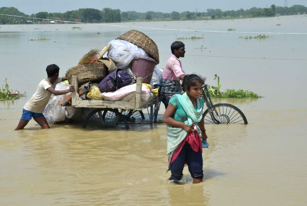 A view of flood hit Mithan Sharay block in Muzaffarpur of Bihar on July 16, 2019.