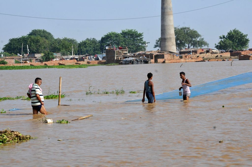 A view of flood hit village near Patna, on Aug 21, 2016.