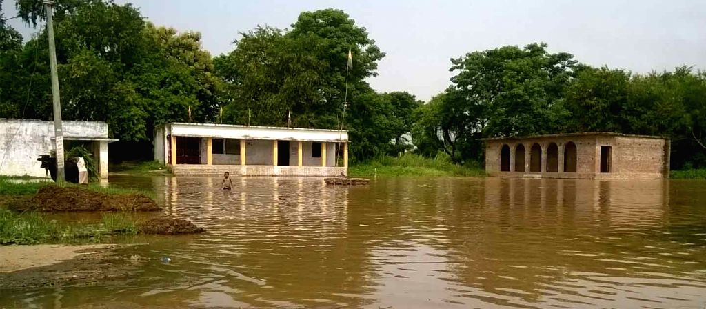 A view of flood hit villages in Begusarai district of Bihar on Aug 18, 2016.