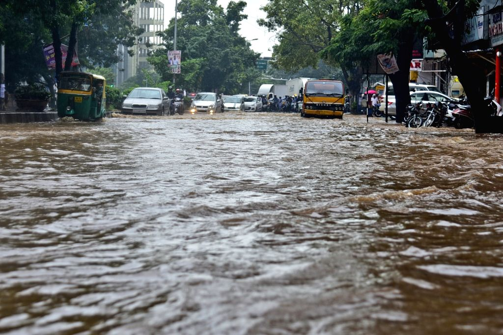 A view of flooded Bengaluru roads after heavy rains lashed the city on Oct 5, 2017.