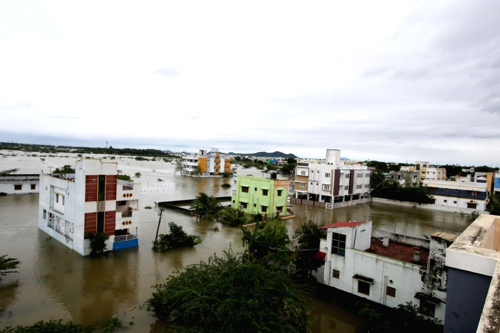 A view of flooded Chennai after very severe cyclonic storm Nivar wreaked havoc, on Nov 26, 2020. According to the Tamil Nadu government, three persons lost their lives due to rain related ...