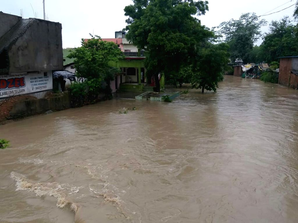 A view of flooded Hoshangabad, Madhya Pradesh after incessant rains on Aug 3, 2019.
