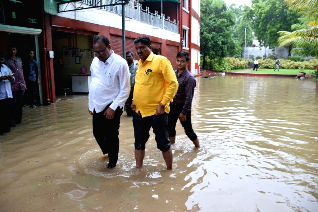 A view of flooded Maharashtra Legislature in Nagpur on on July 7, 2018.