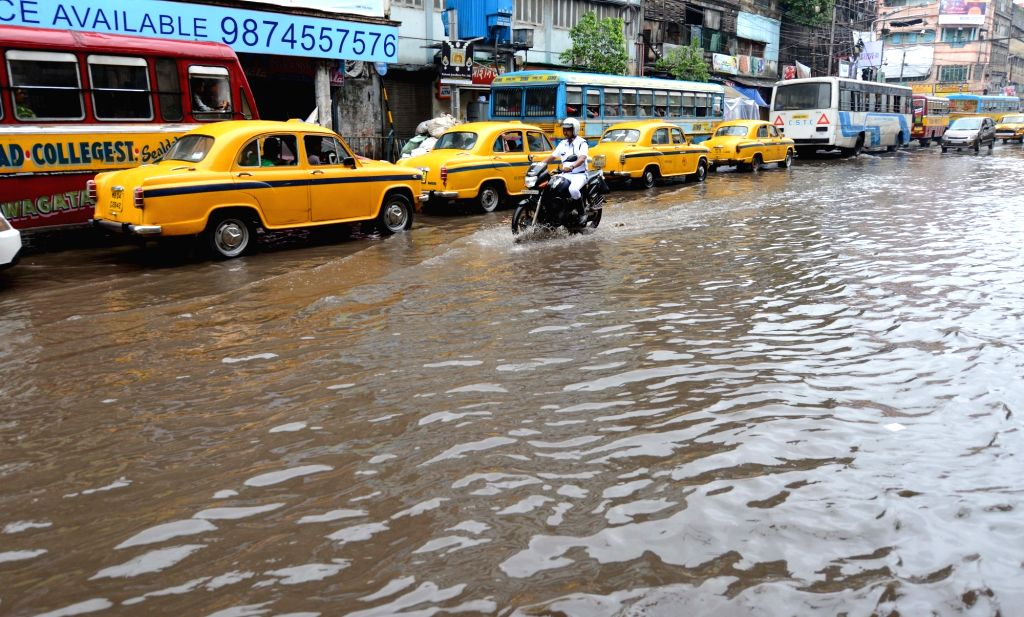 A view of flooded MG Road in Kolkata, on July 3, 2016.
