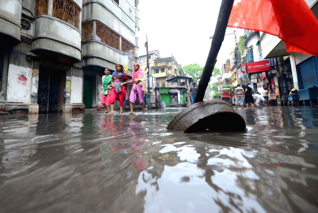 A view of flooded Muktaram Babu Street in Kolkata, on July 3, 2016.
