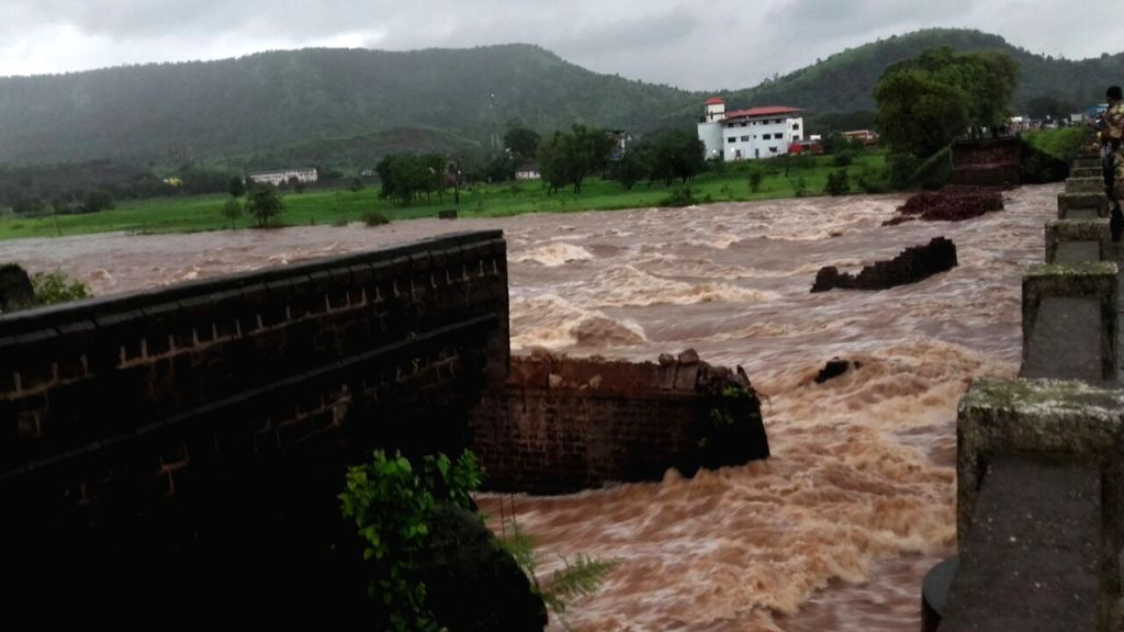 A view of flooded Savitri river in Maharashtra on Aug 3, 2016.