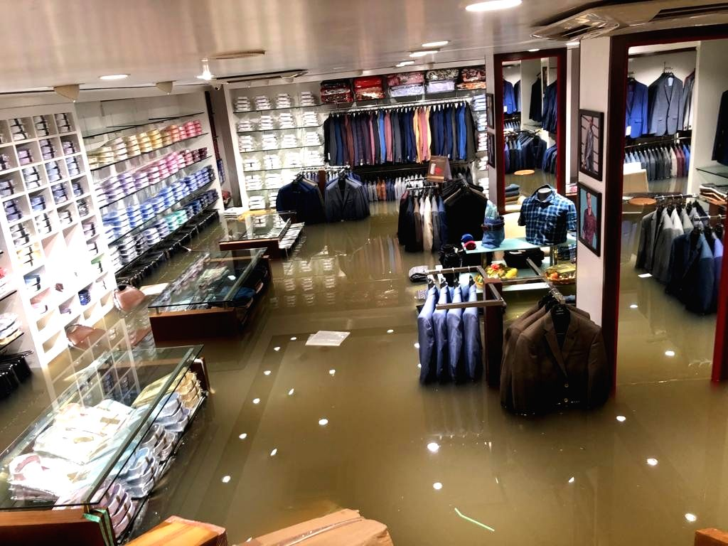 A view of flooded showroom after heavy rains in Patna on Sep 28, 2019.