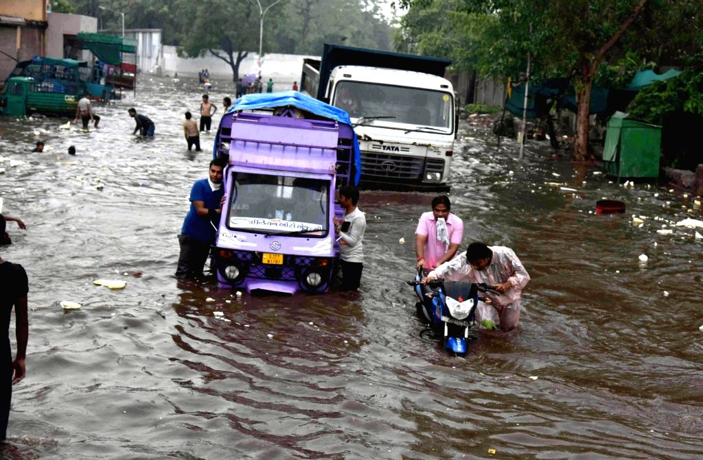 A view of flooded streets of Ahmedabad on July 3, 2017.