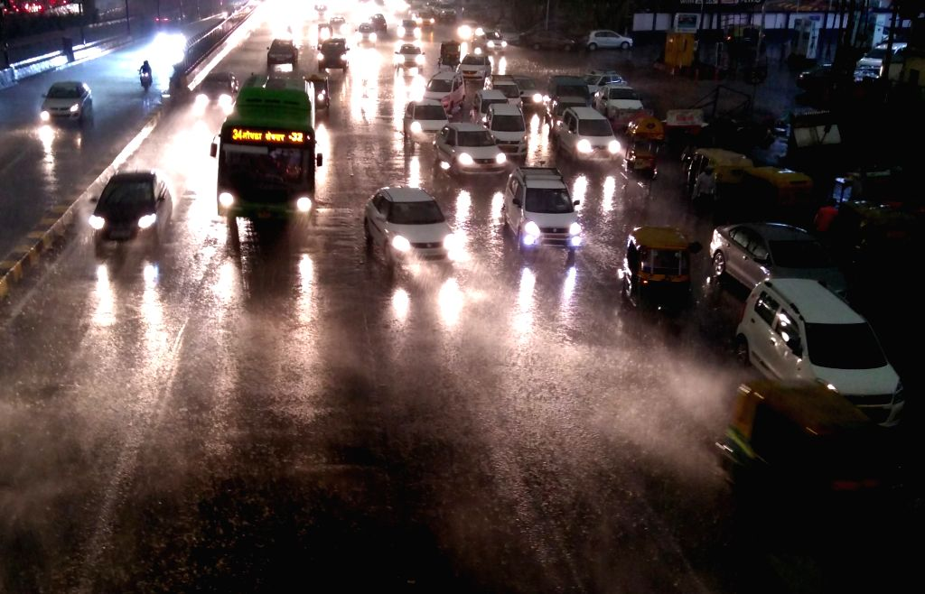 A view of flooded streets of Delhi after heavy rains lashed the national capital on May 21, 2017.