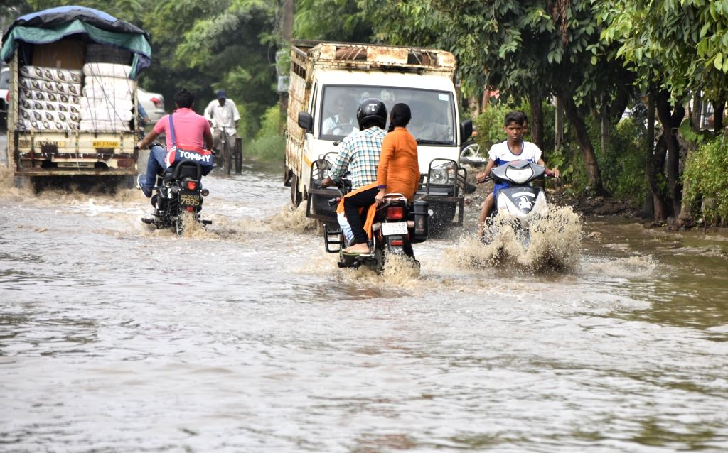 A view of flooded streets of Gurugram after heavy rains in Gurugram, on Aug 8, 2017.