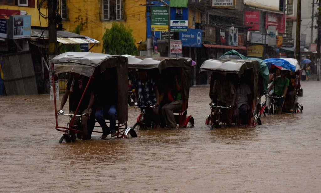 A view of flooded streets of Guwahati after heavy rains in Guwahati, on June 13, 2017.