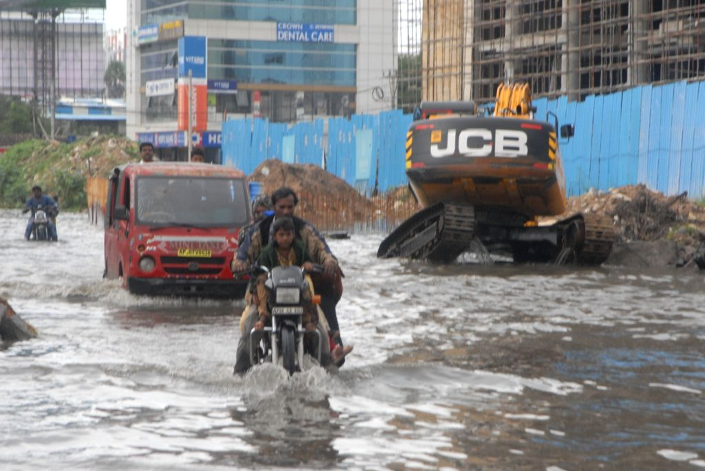 A view of flooded streets of Hyderabad after heavy rains on Oct 3, 2017.