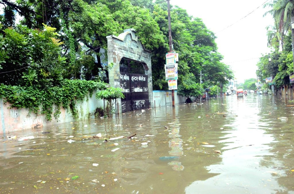 A view of flooded streets of Patna on Sept 12, 2016.