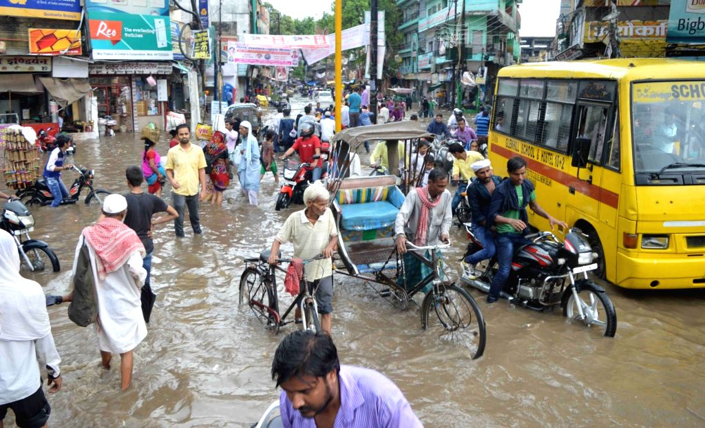 A view of flooded streets of Varanasi after rains on July 5, 2016.