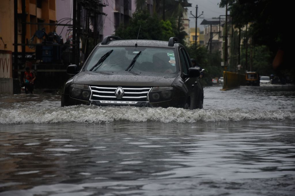 A view of flooded streets of Virar in Maharashtra on Aug 3, 2019.