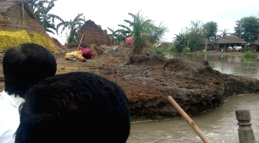 A view of flooded village in Supaul district of Bihar on July 21, 2016.