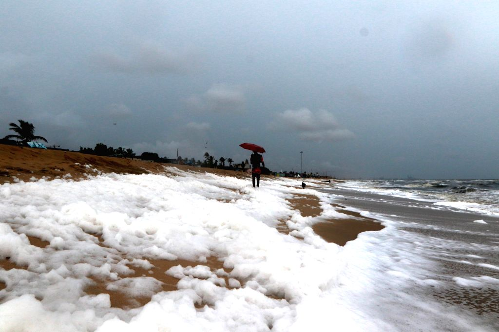 A view of foam deposited on the sea shore of Marina Beach in Chennai on Oct 30, 2019.