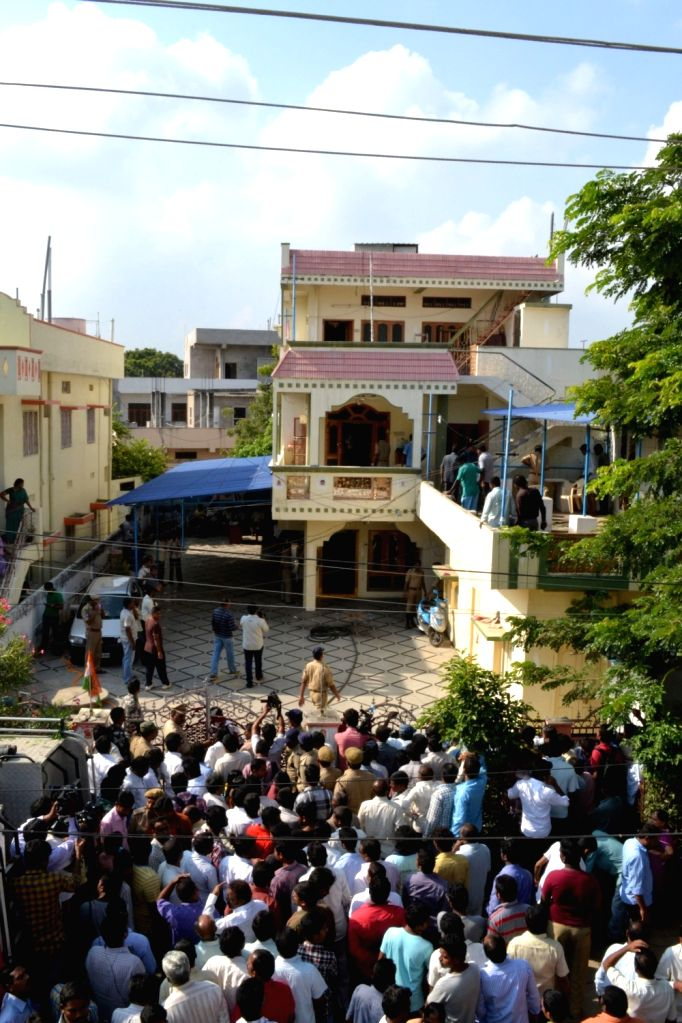 :A view of Former Congress MP Siricilla Rajaiah house in Andhra Pradesh's Warangal town. (Photo: IANS).