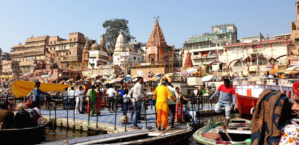 A view of Ganga Ghat as seen from a boat, in Varanasi.