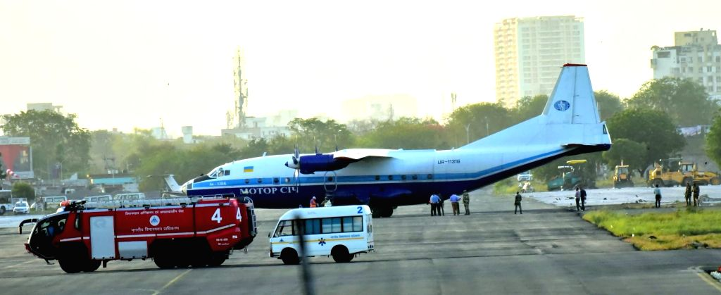 A view of Georgian An-12 cargo aircraft which was forced by IAF jets to land at Jaipur airport on Friday after it created alarm by entering Indian air space from an unscheduled point in north ...