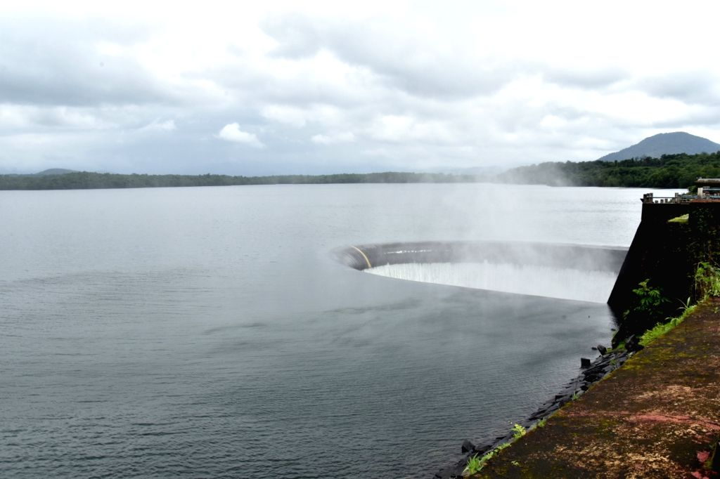 A view of Goa's Selaulim dam, a crucial water reservoir which provides supply for nearly half of the state's population has started overflowing following incessant rain over the last one ...