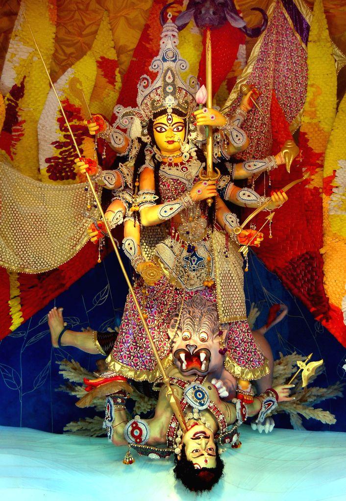 A view of Goddess Durga at 25 pally Durga Puja pandal in Kolkata, on Oct 19, 2015.