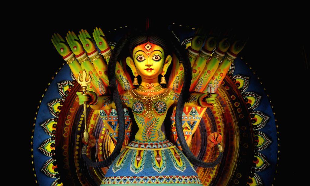 A view of Goddess Durga at 95 pally Durga Puja pandal in Kolkata, on Oct 19, 2015.