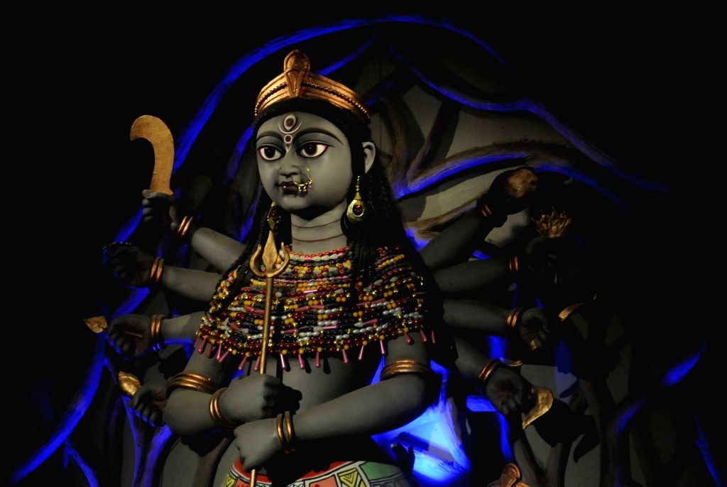 A view of Goddess Durga at Jodhpur Park Durga Puja pandal in Kolkata, on Oct 19, 2015.