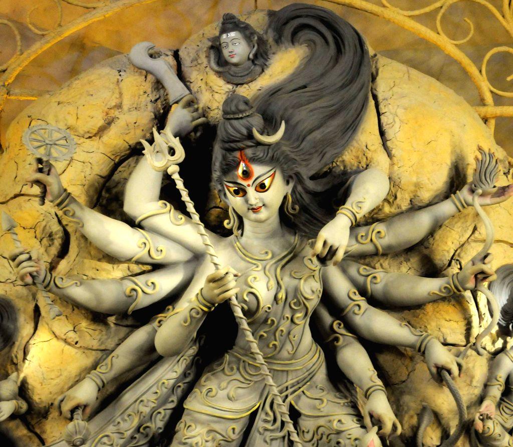 A view of Goddess Durga at Pally Mangal Samiti Durga Puja pandal in Kolkata, on Oct 19, 2015.