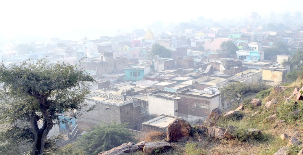 A view of Govardhan hill engulfed in smog; in Mathura, on Nov 1, 2018.