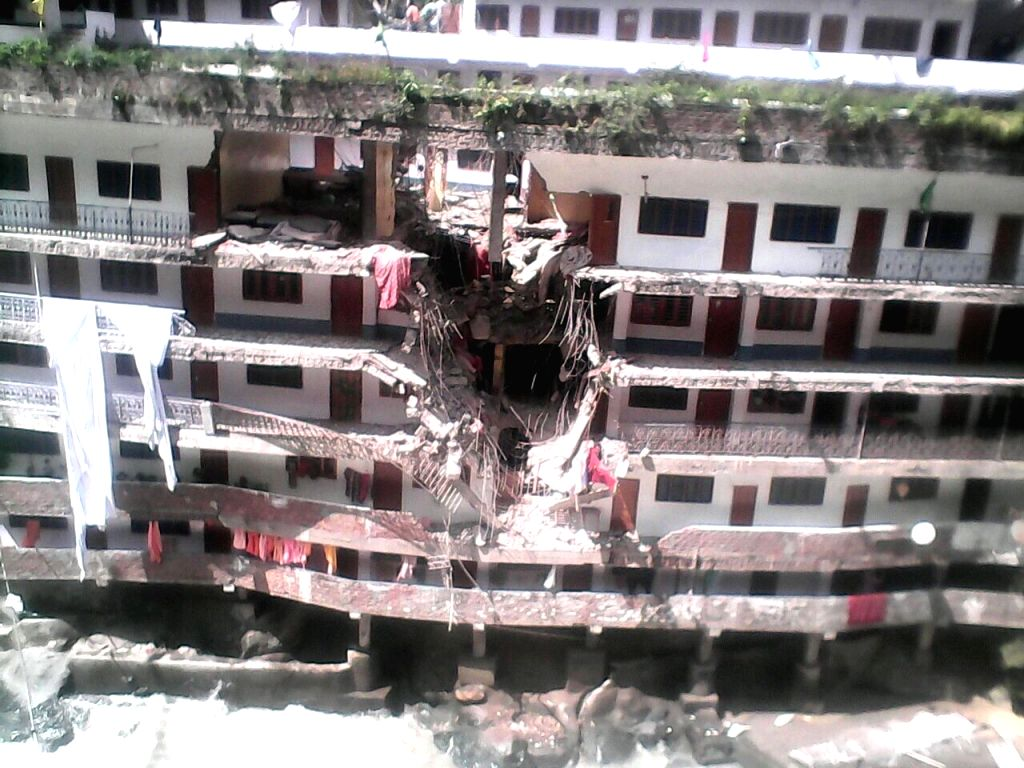 A view of Gurdwara Manikaran Sahib after being hit by boulders during a landslide, in Himachal Pradesh on Aug 18, 2015.