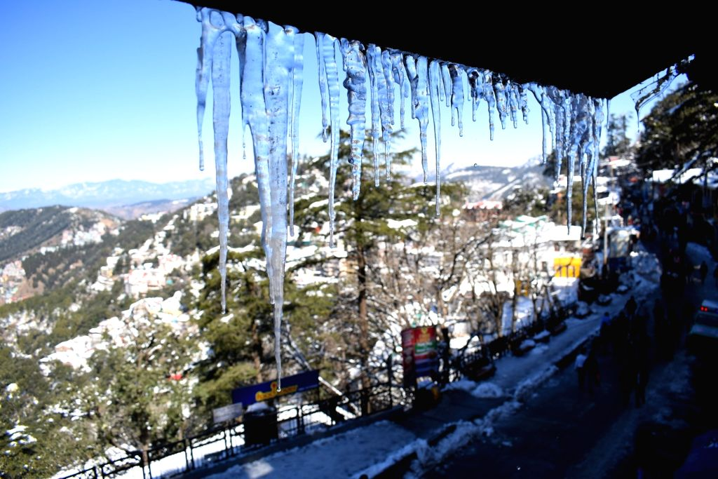 A view of icicles hanging from the roof in Shimla, on Feb 9, 2019.