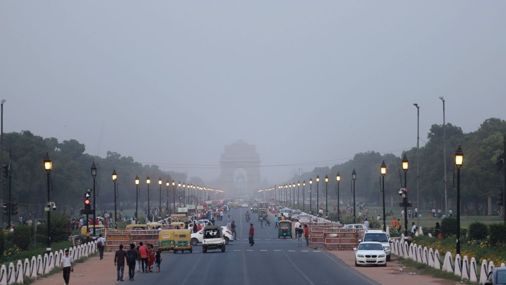A view of India Gate during dust storm in New Delhi, on June 6, 2019.
