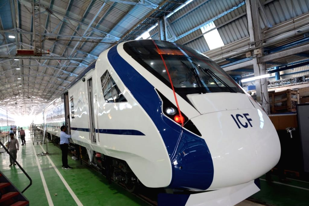 A view of India's first trainsetTrain 18 --100-crore indigenously developed high-tech, energy-efficient, self-propelled or engineless train that was flagged off by Railway Board Chairman ...