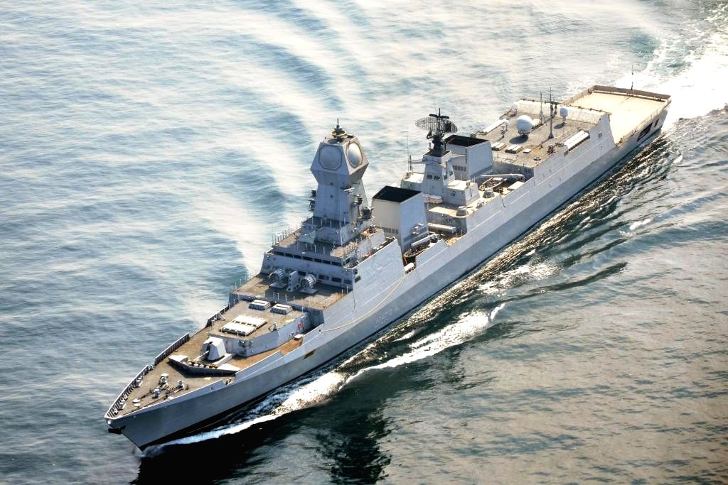 A view of `INS Kolkata`, India's largest, indigenously-built stealth destroyer warship, in the Arabian sea, near Mumbai on Aug 15, 2014. The ship will be formally commissioned on 16th August ... - Narendra Modi