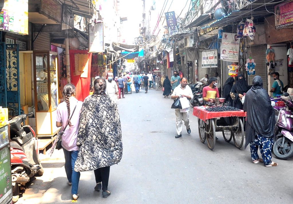 A view of Jama Masjid area Market after second day reopen after lockdown in New Delhi on Tuesday June 08, 2021.