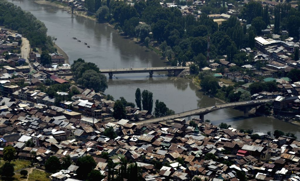 A view of Jhelum river flowing through Baramulla town of Kashmir.