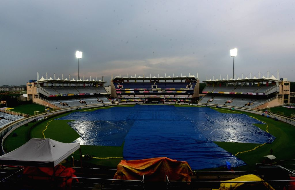 A view of JSCA Stadium as rains lash Ranchi ahead of India-Australia T20 match on Oct 6, 2017.