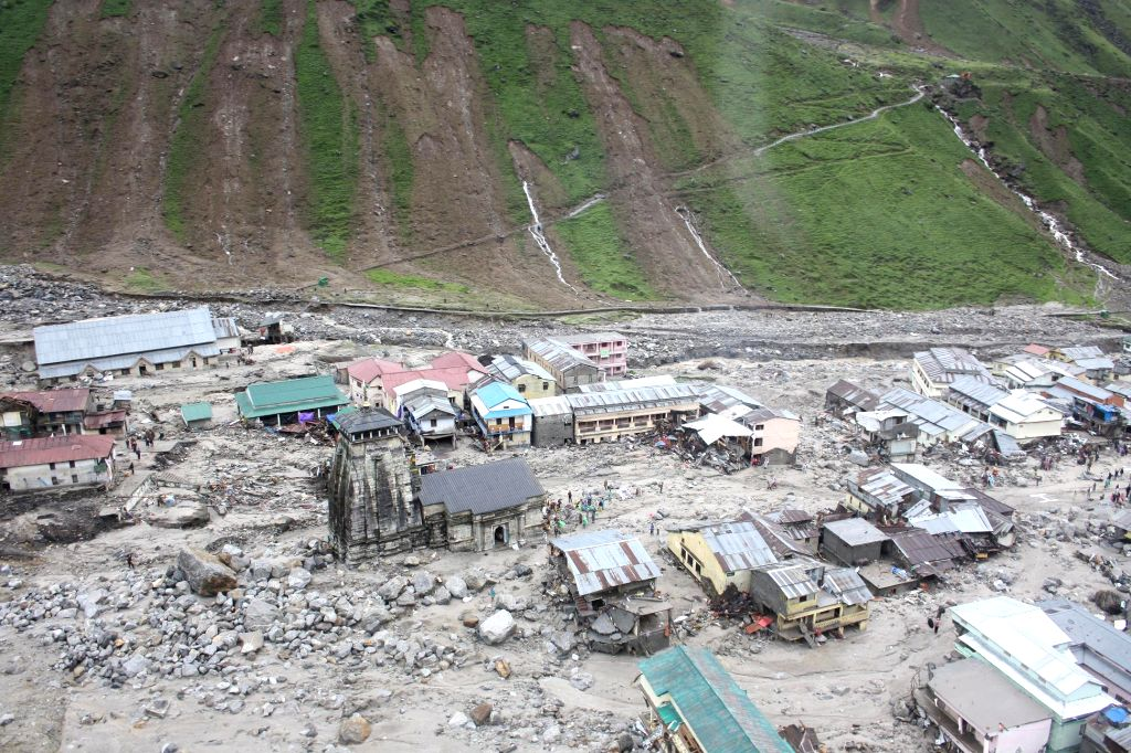 : A view of Kedarnath from a helicopter after a flood, in Uttarakhand on Wednesday June 19 , 2013. (Photo: IANS).