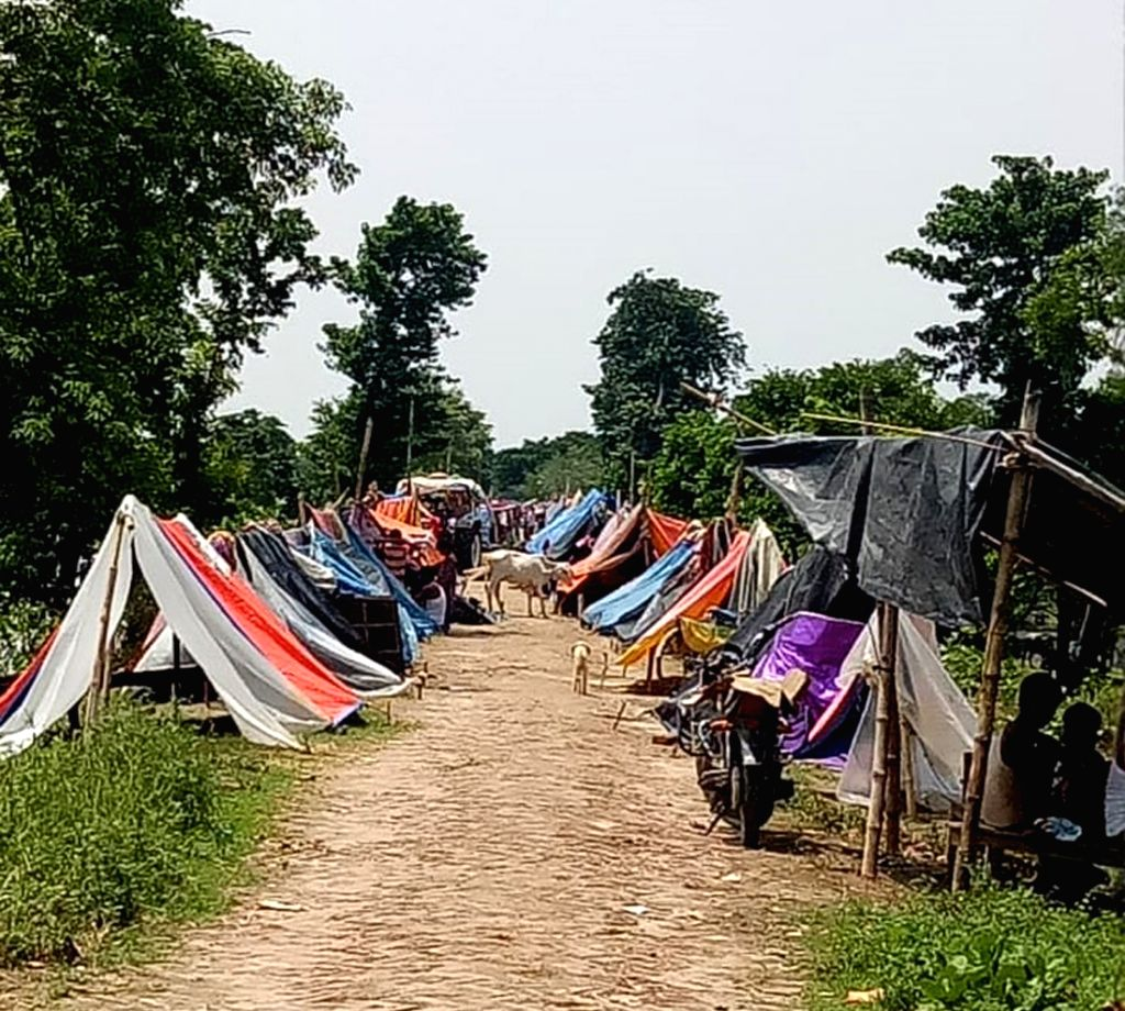 A view of makeshift camps in Bihar's flood hit Sitamarhi on July 19, 2019.