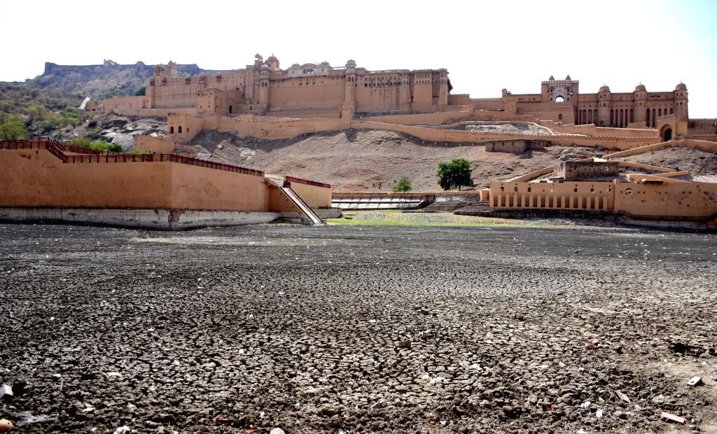 A view of Maota pond near Amer Fort that dried up, in Jaipur on June 3, 2019.
