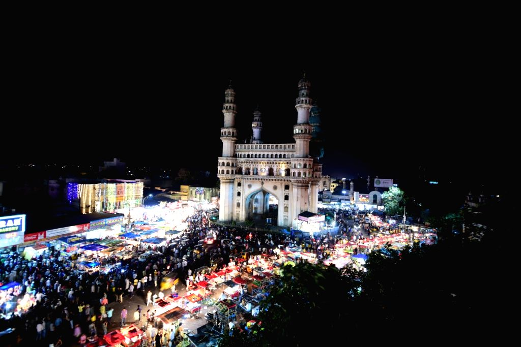 A view of markets around Charminar bustled with people shopping during Ramadan in Hyderabad.