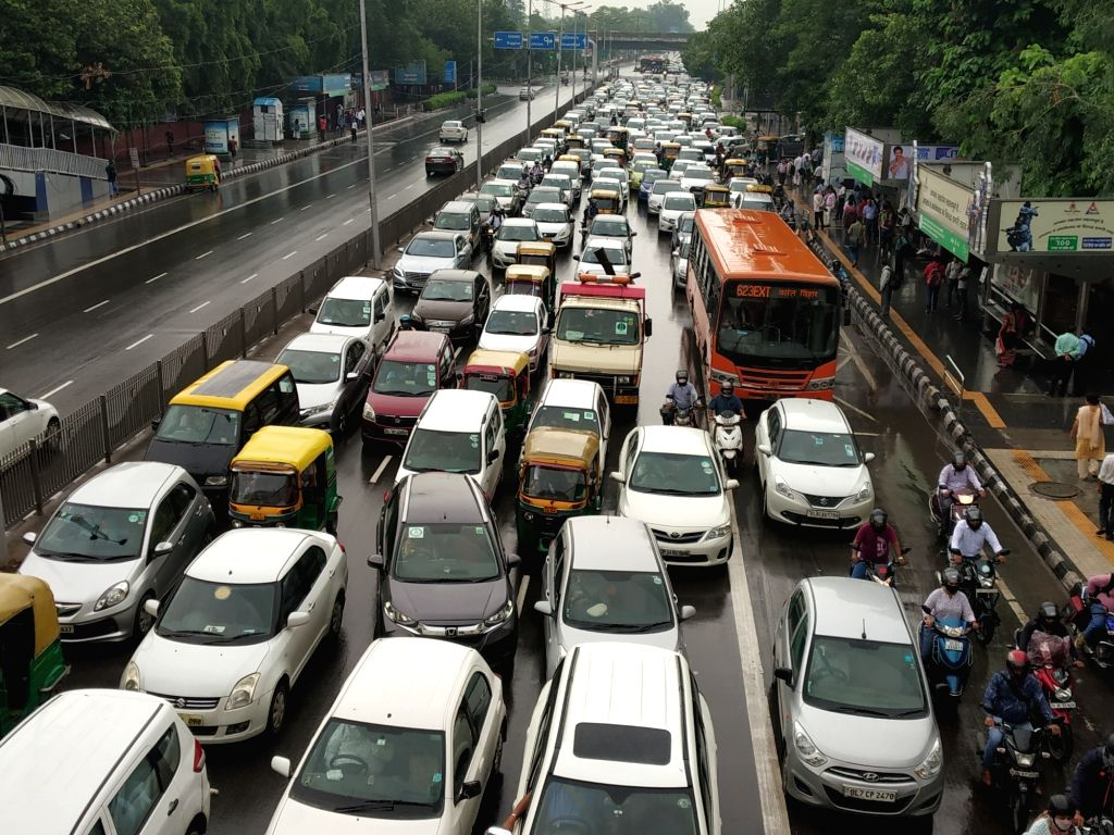 A view of massive traffic jam after rains, in New Delhi, on July 18, 2019.