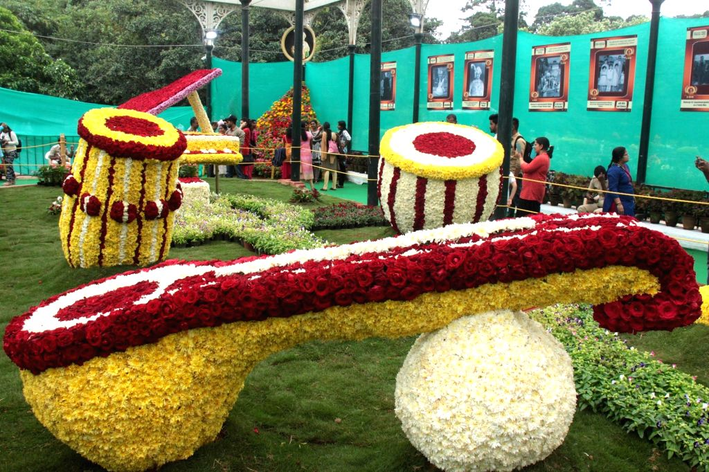 A view of musical instruments made up of flowers on display at the Lalbagh Botanical Garden which is all decked up for Annual Flower Show that will be a part of Independence Day ...