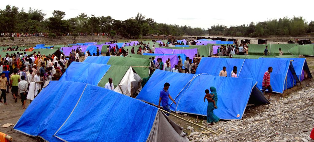 A view of Narayanguri Relief Camp setup to provide shelter to those who fled their villages after recent violence in Bodoland Territorial Area Districts (BTAD), in Baksa district of Assam on May 7, ..