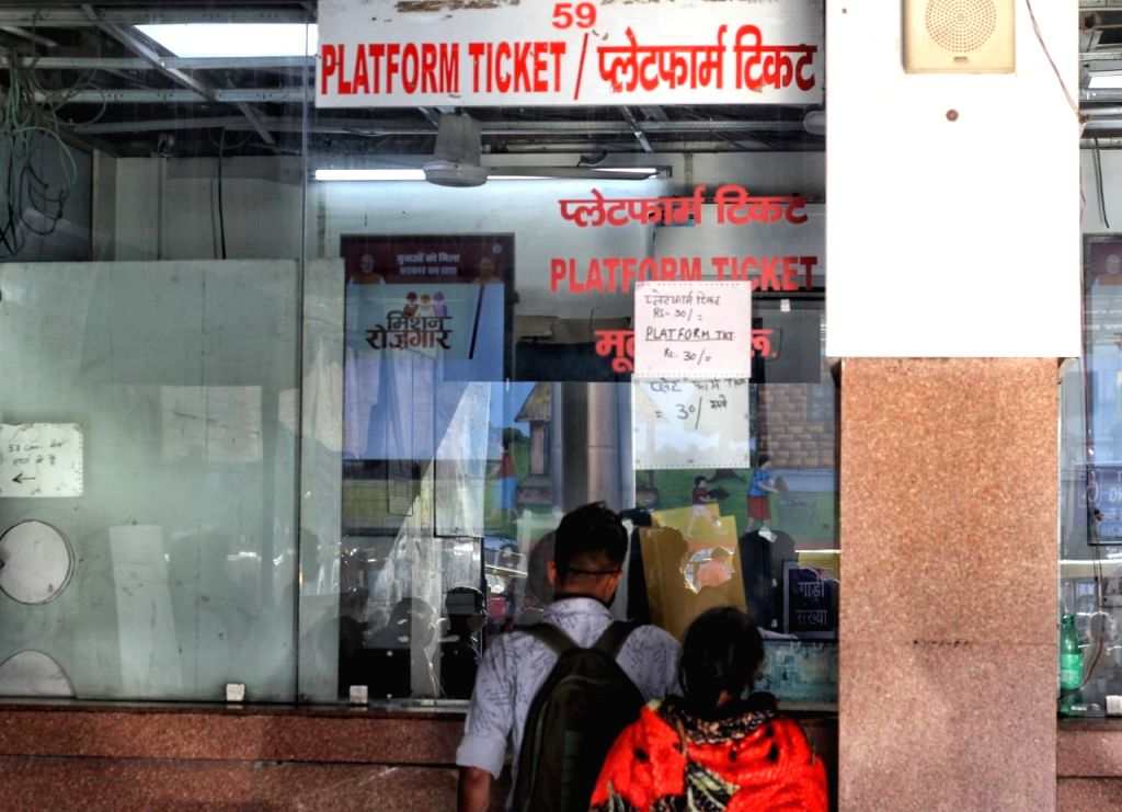 A view of New Delhi Railway Station, Platform ticket counter in new Delhi on Friday.