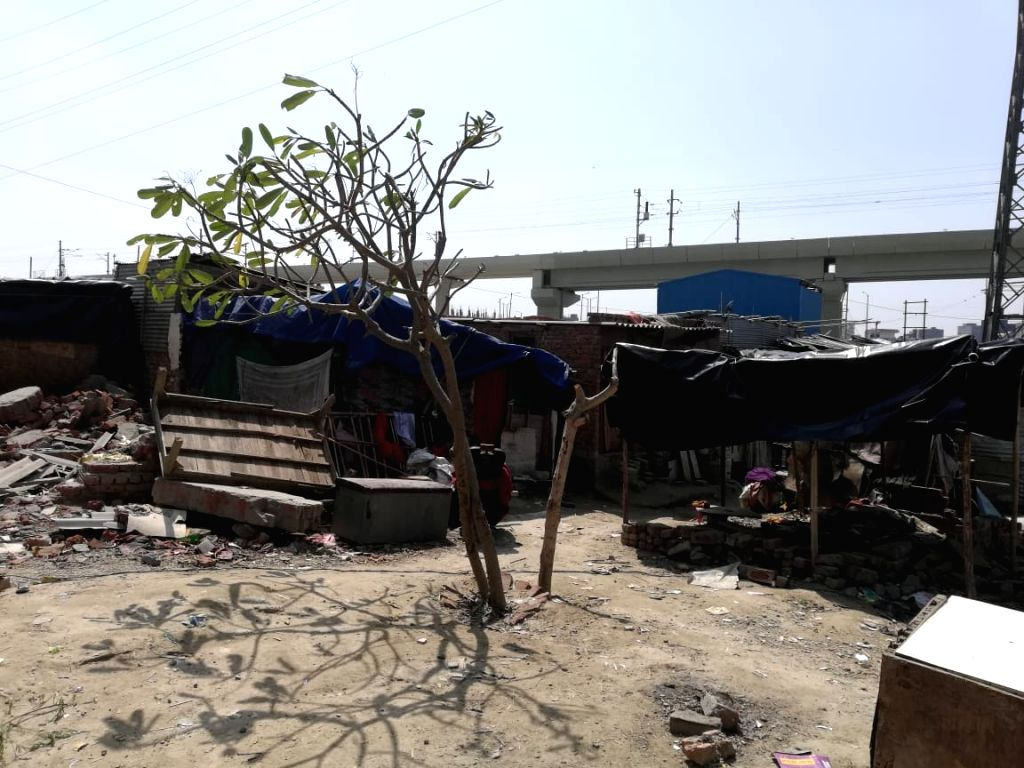 A view of Noida Sector 78 slums. There is an outcry in the country over the deadly coronavirus and 148 cases have been found positive so far with the government running various awareness ...