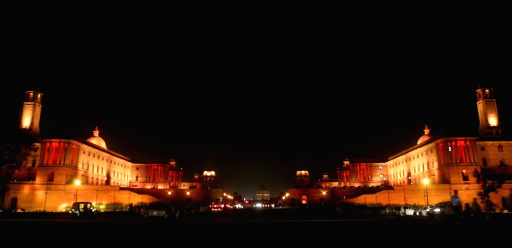 A view of North Block and the South Block buildings after installation of dynamic lighting system at the buildings, in New Delhi on Oct 11, 2017.
