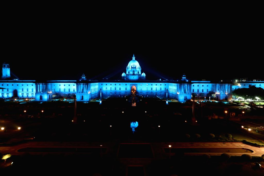 A view of North Block and the South Block buildings after installation of dynamic lighting system at the buildings, in New Delhi on Oct 11, 2017. The lighting that changes colour every few ...
