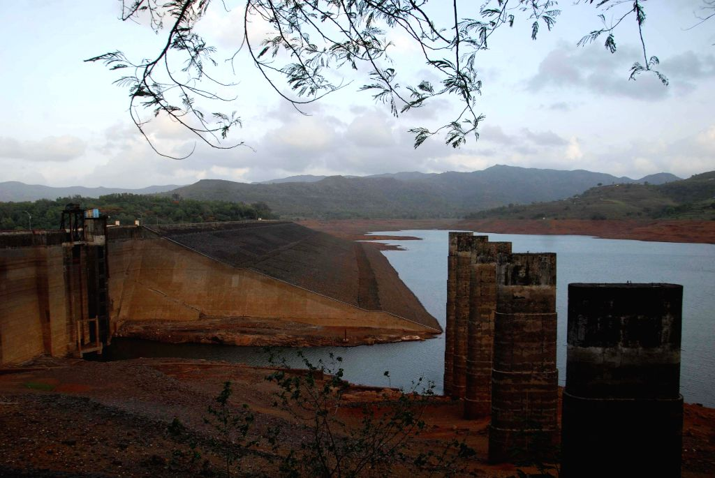 A view of Panshet Dam on the Ambi river about 50 km southwest of Pune where water level has gone down considerably because of delayed monsoons.